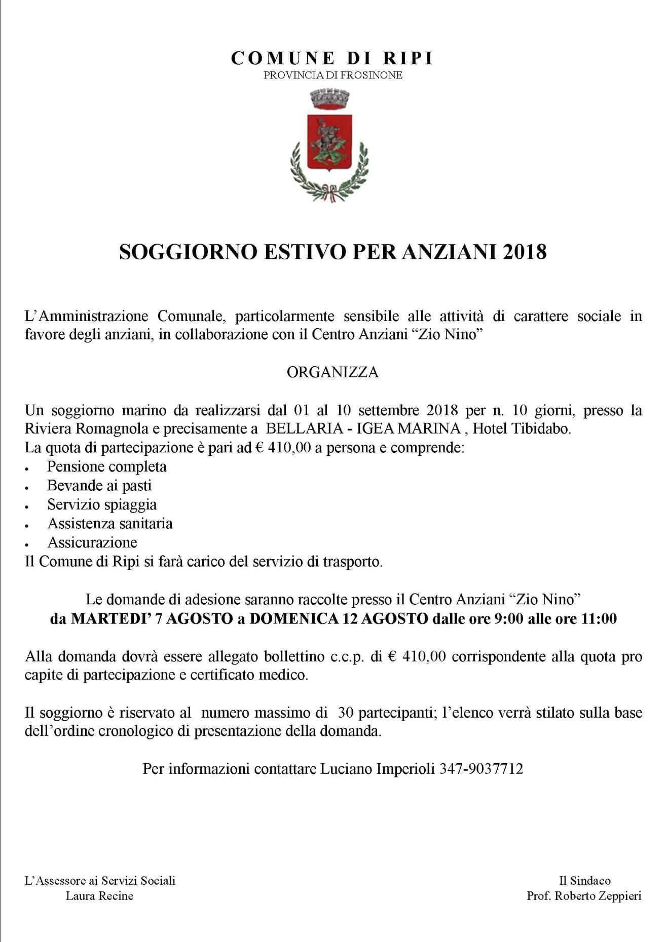 Comune di Ripi - Soggiorno estivo per anziani 2018